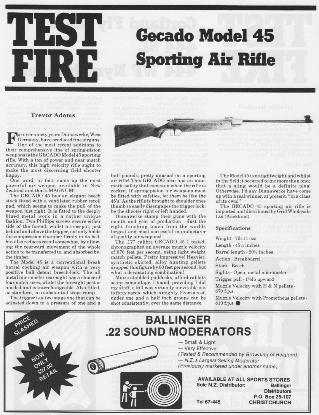 Gecado (Diana) 45 | Adams, Trevor – Vintage Airgun Articles