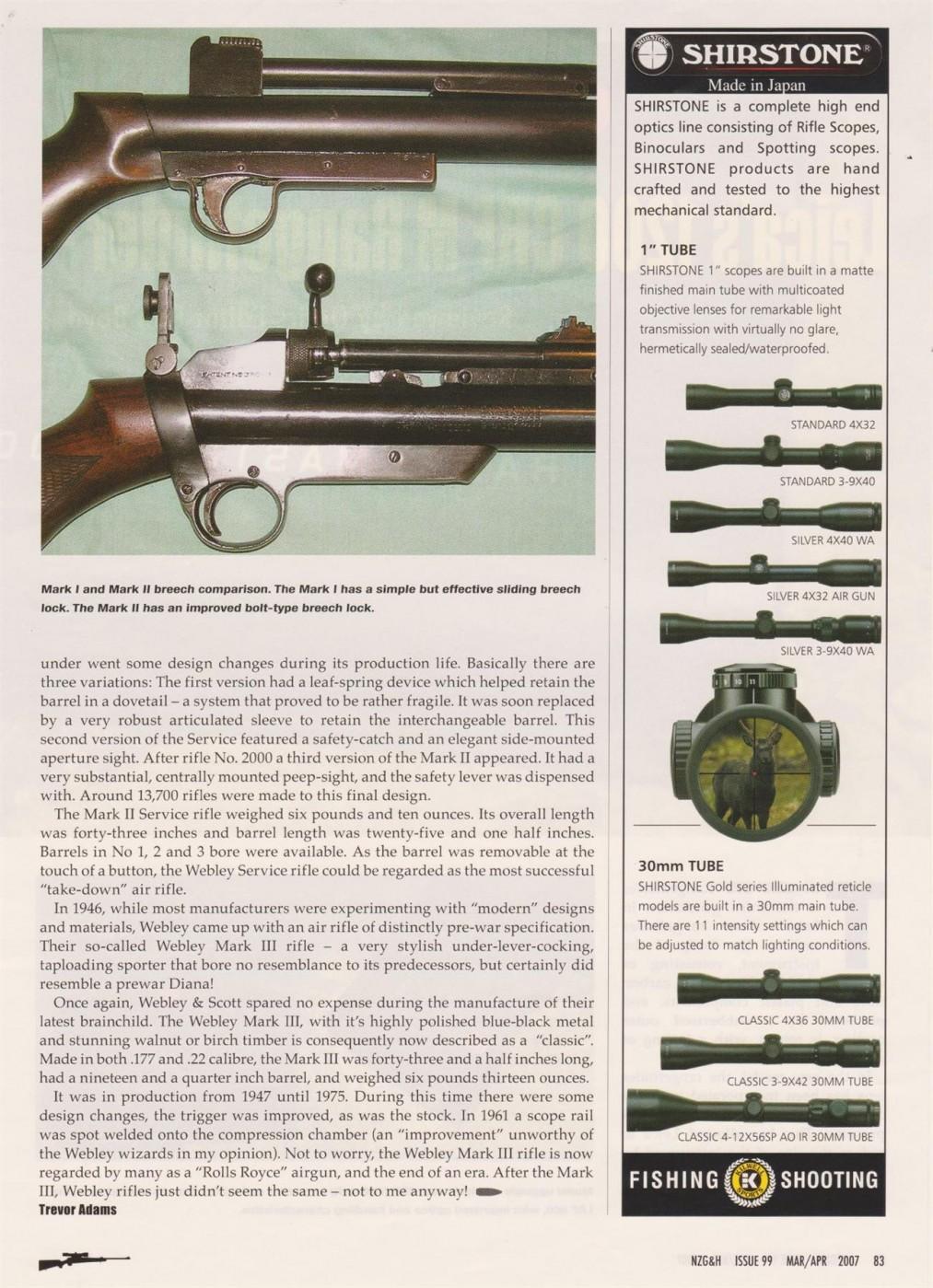 Webley air pistols and air rifles (various articles)   Adams, Trevor